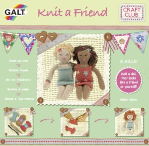 Knit a doll that looks like you and your best friend with the new James Galt Knit a Friend Kit.